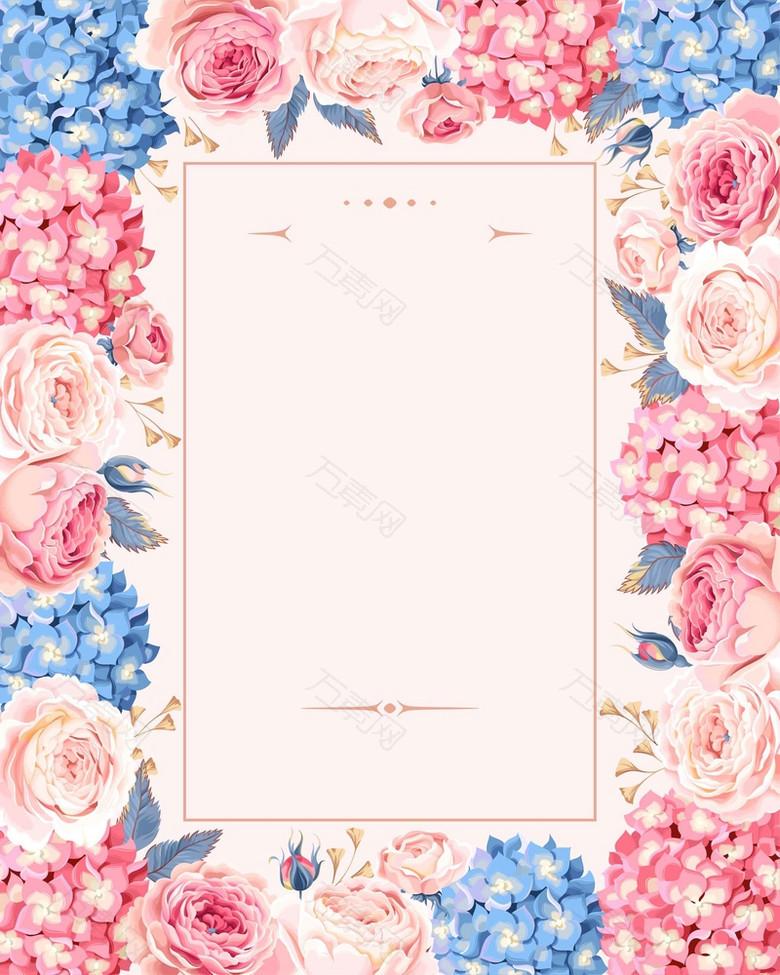 欧式婚礼庆典婚庆手绘鲜花请帖请柬海报背景