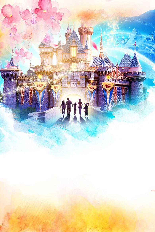 梦幻迪斯尼城堡六一儿童节海报背景素材