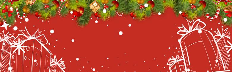 圣诞节红色卡通电商礼物banner