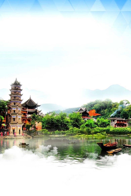 农村渐变手绘中国风传统屋檐背景