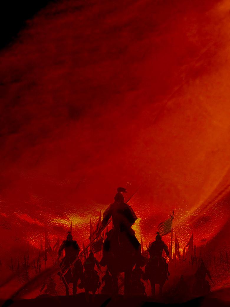 红色黄昏落日招聘招兵买马战争背景素材