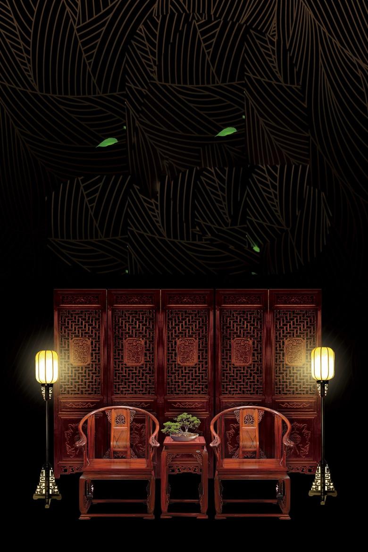 中国风红木实木家具海报背景psd