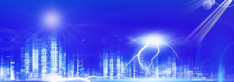 大气城市文明建筑蓝色背景