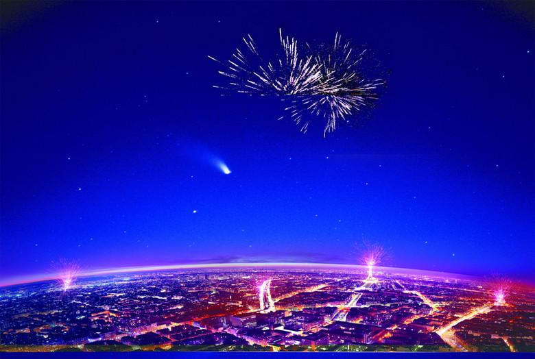 都市夜景海报PSD背景素材