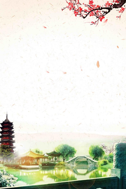 苏州美景旅游宣传海报背景模板