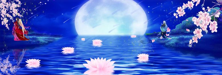 湖面睡莲花瓣月亮蓝色背景banner