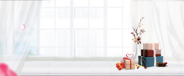 夏日美妆小清新简约白色礼物盒背景