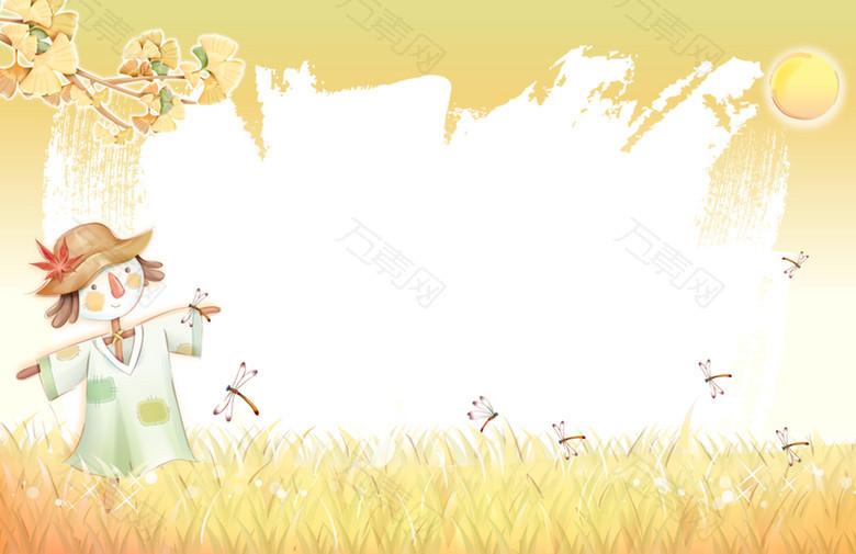 黄色手绘稻田背景