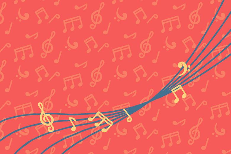 抽象卡通五线谱音符背景素材