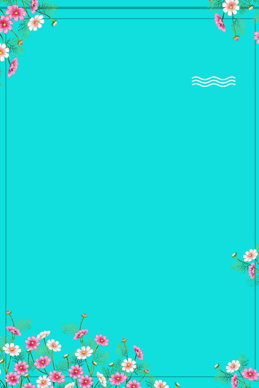 青色矢量简约文艺夏季促销海报背景