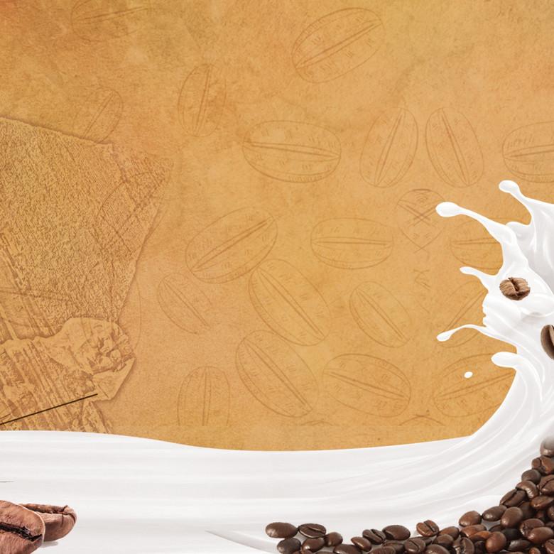 咖啡冲剂饮料手绘PSD分层主图背景素材