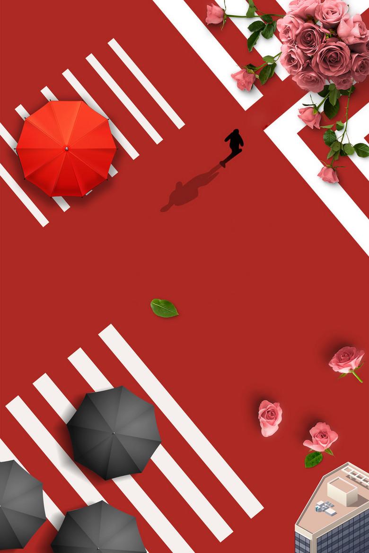 红色简约欧美情人节海报
