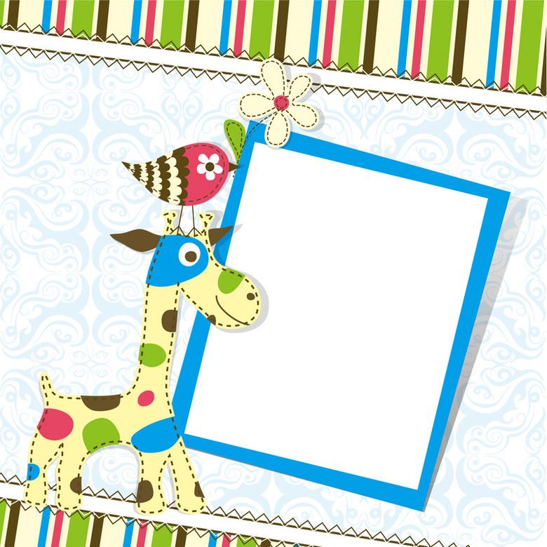 卡通小鹿相框条纹背景素材