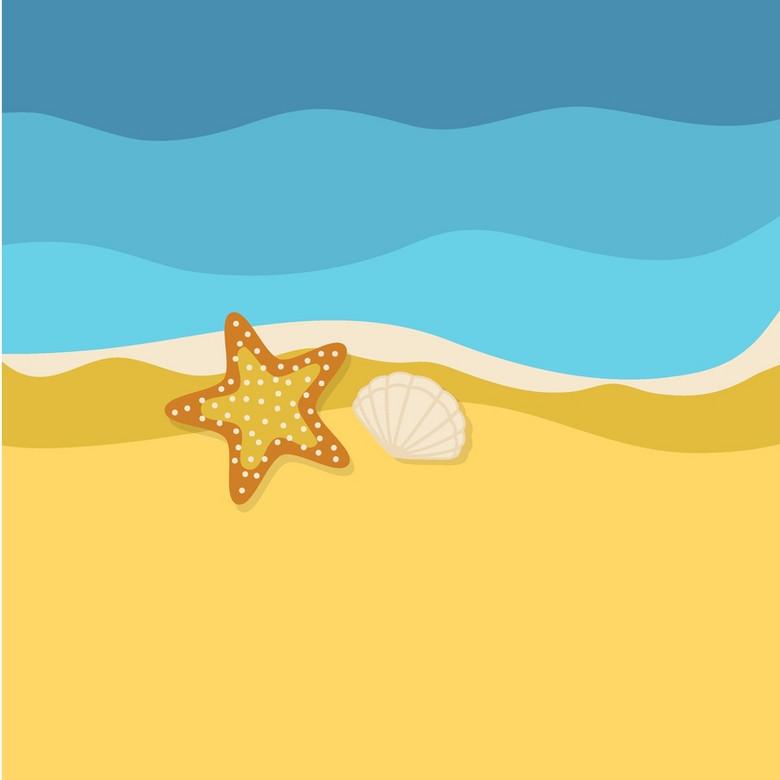 手绘卡通海洋沙滩贝壳海星背景素材