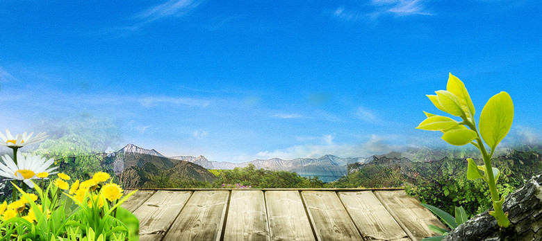 清新蓝天白云背景