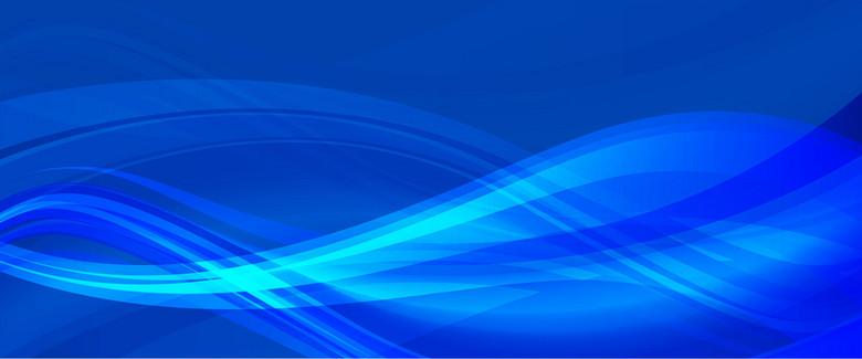 曲线波纹蓝色大尺寸banner背景