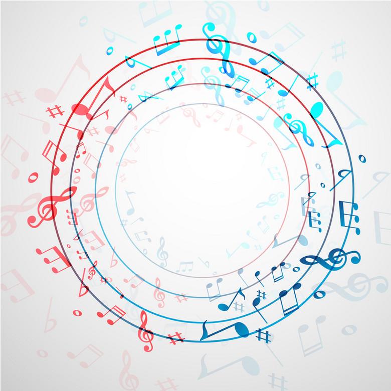 卡通五线谱抽象圆形音符背景素材