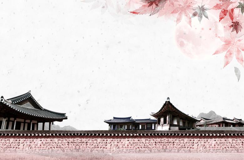 中国古风建筑平面广告背景