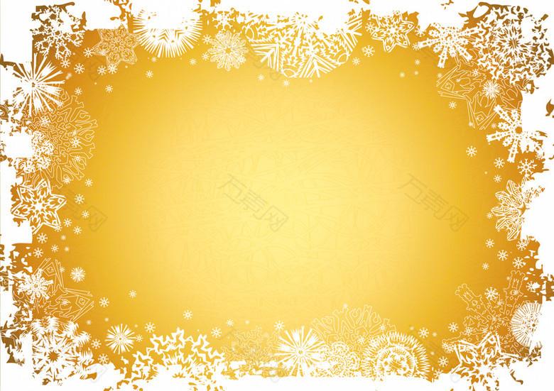 黄色雪花背景素材
