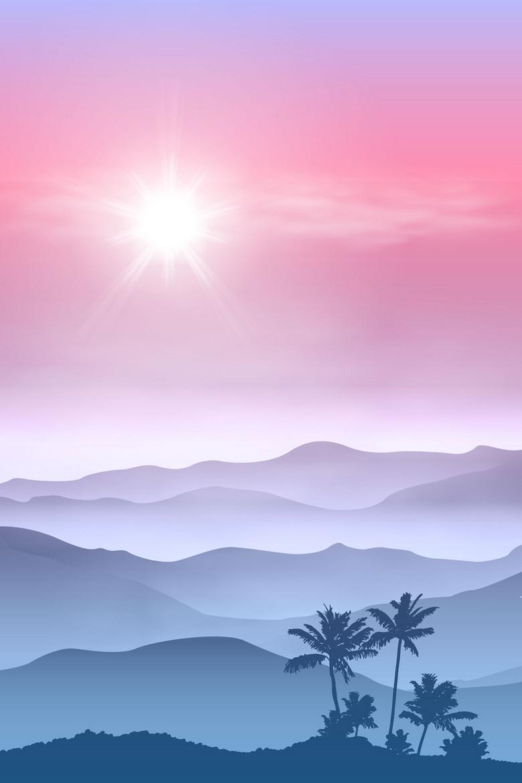 矢量手绘唯美远山风景背景