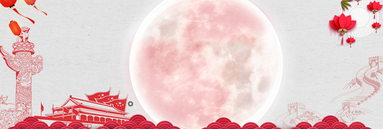 红色天安门中国风莲花灯笼长城喜庆电商