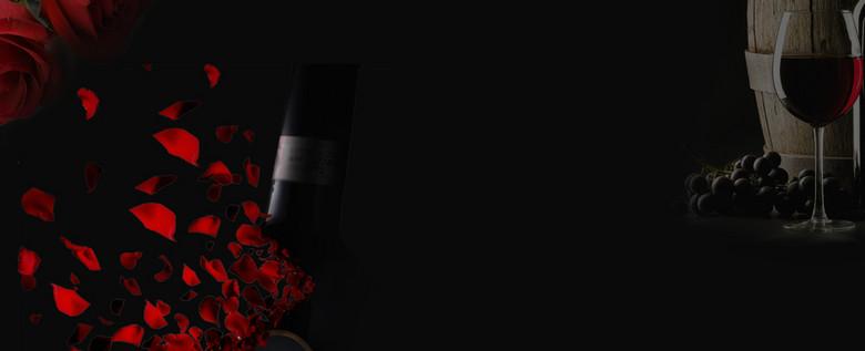 新品红酒上市双十一大促玫瑰黑色banne