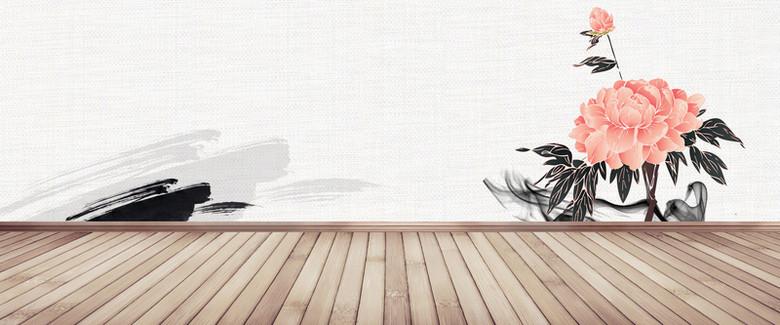 中国风复古牡丹花卉背景