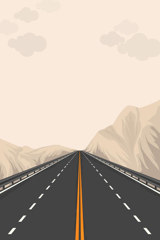 矢量扁平手绘透视公路背景