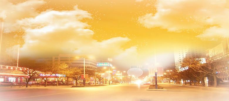 黄昏城市街道背景