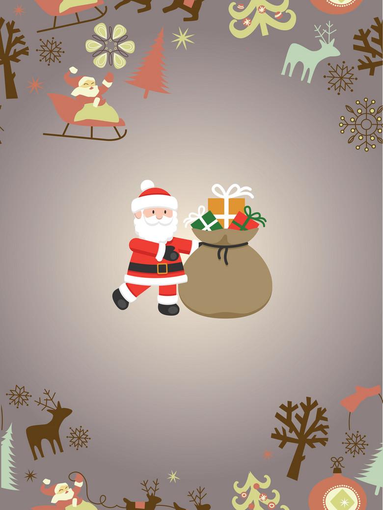 圣诞小鹿老人礼物主题背景素材
