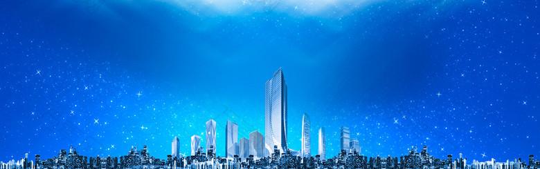 城市大气景色壮丽景色蓝色背景