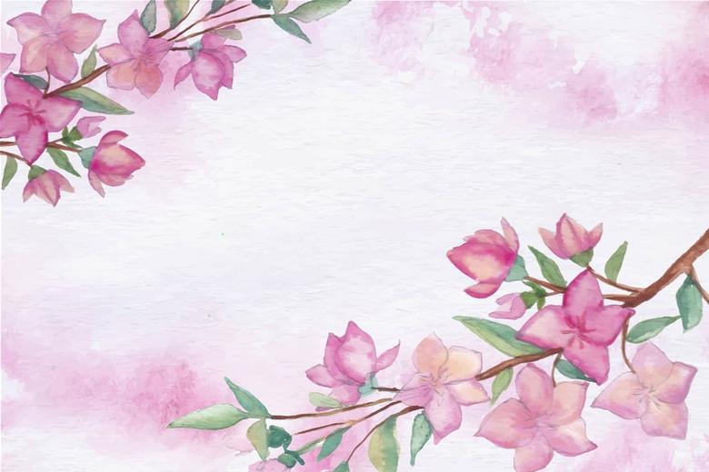 简约彩绘花卉矢量背景