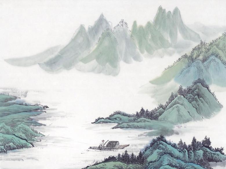 青山绿水水墨画背景