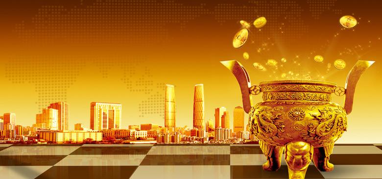 白银投资股票投资大气金色海报背景