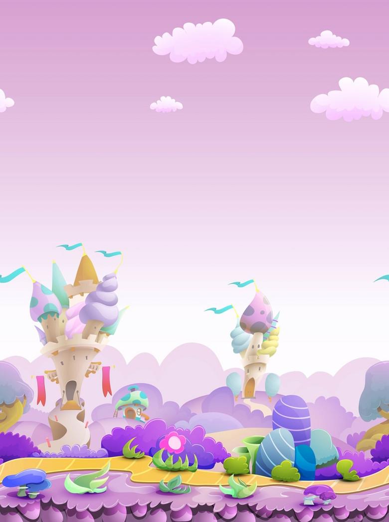 矢量卡通儿童童话城堡背景