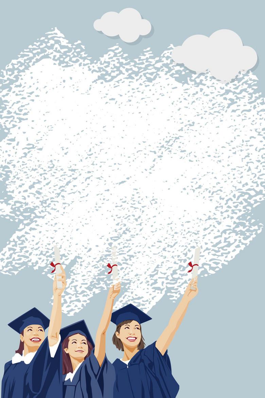 矢量扁平化手绘涂鸦毕业海报背景