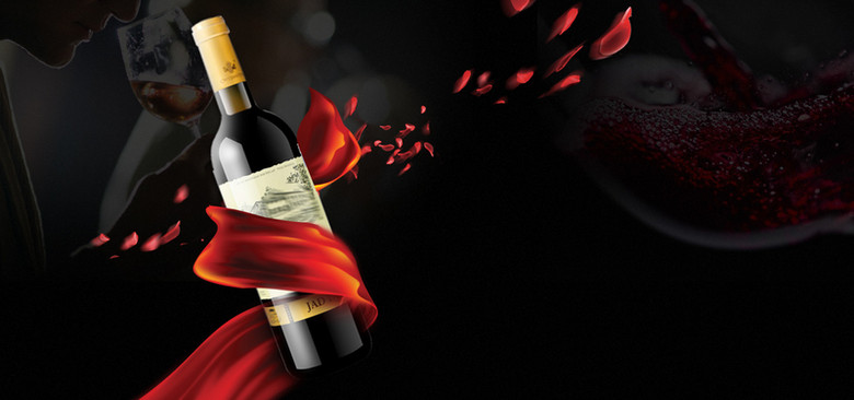 奢华红酒促销黑色背景