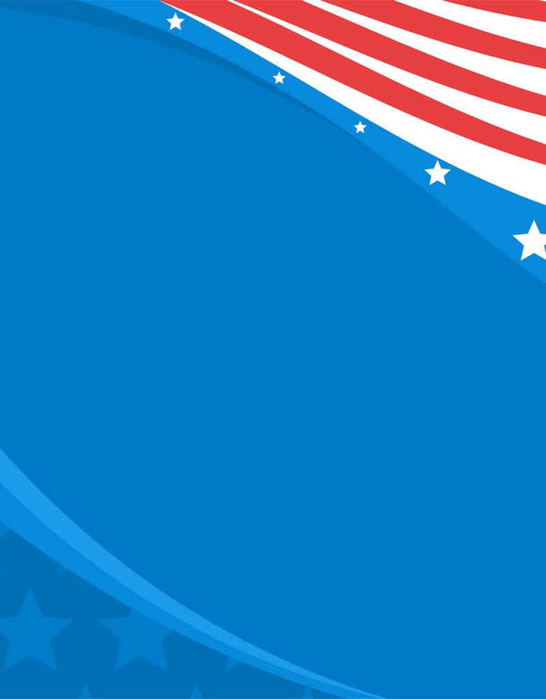 卡通手绘抽象美国国旗蓝色背景素材