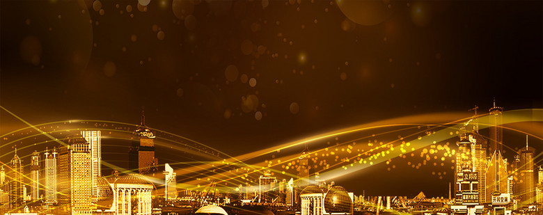 城市大气鎏金质感黑色banner