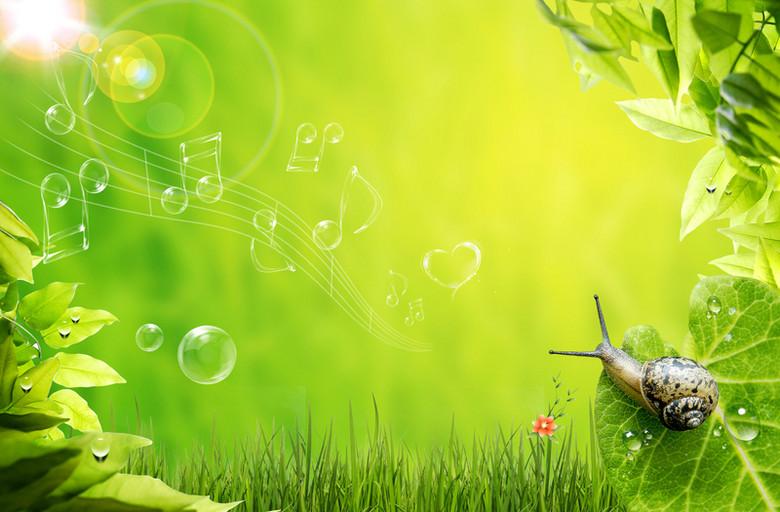 绿色春天蜗牛音符小草背景