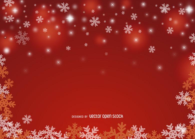 红色雪花广告背景