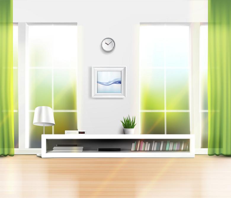 家居室内装修清新客厅窗户背景素材