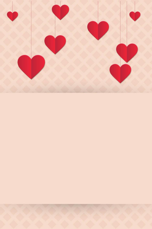 矢量折纸立体心形爱情浪漫背景