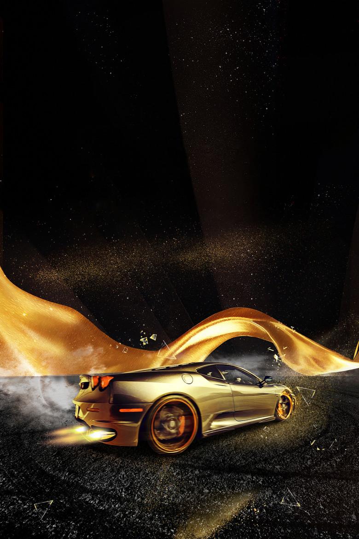 黑色金粉大气酷炫汽车广告海报背景素材