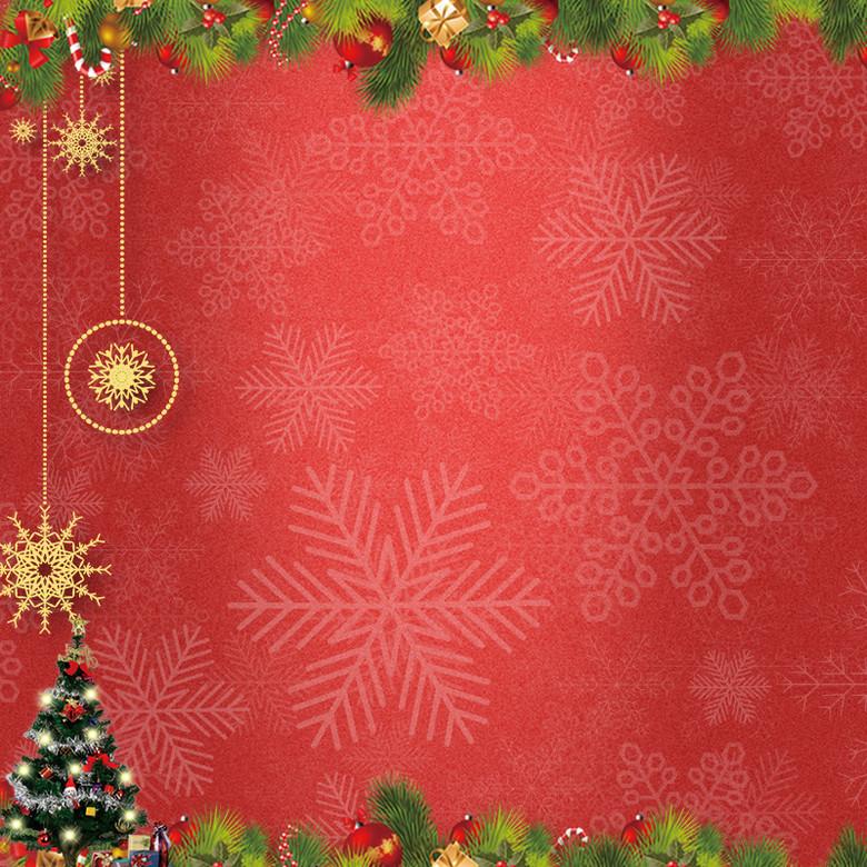 红色质感圣诞节雪花纹理psd分层主图