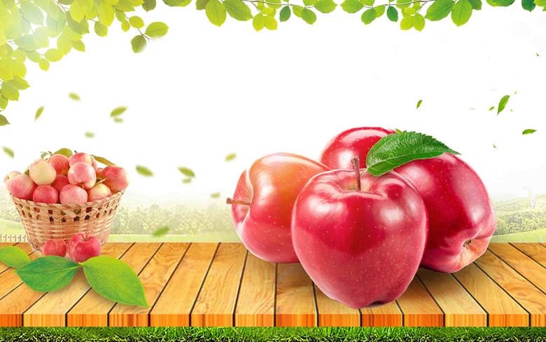 新鲜苹果水果海报背景模板