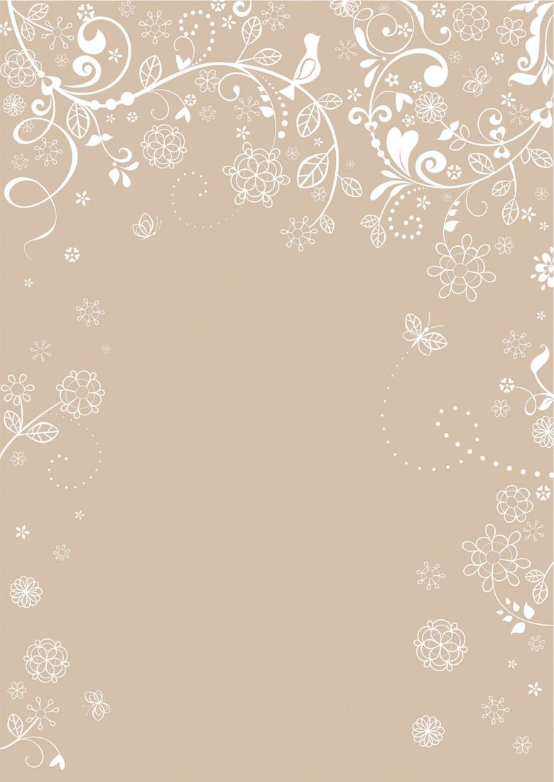 淡雅卡其色花纹背景素材