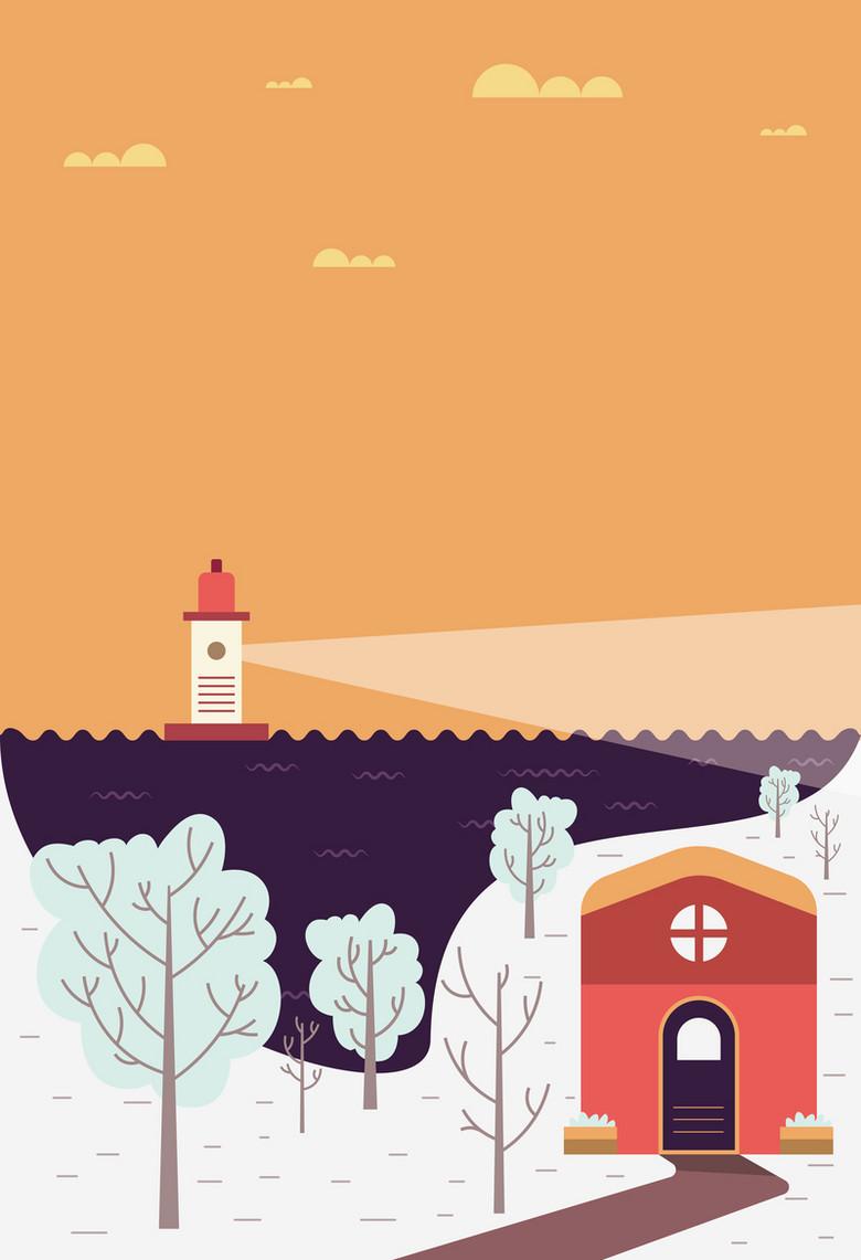 卡通冬季海港风景海报背景素材