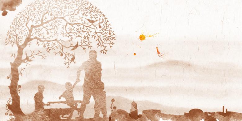 复古温馨人物剪影父亲节海报背景素材