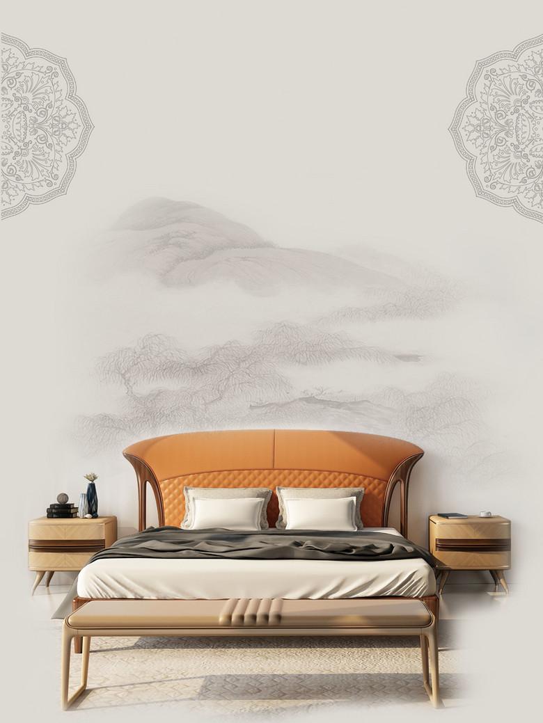 灰色中式简约插画现代家具背景素材
